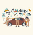 car wash service concept workers characters vector image