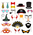 cartoon color photo booth party icon set vector image vector image