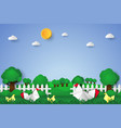 chicken in the garden paper art style vector image vector image