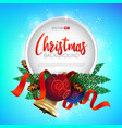 christmas round frame design realistic new year vector image