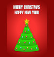christmas tree with merry and happy new vector image vector image
