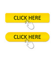 click here button register icon yellow banner vector image