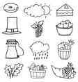 Collection stock thanksgiving set on doodles vector image vector image
