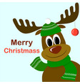 cute cartoon deer with christmas ball on antlers vector image vector image