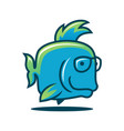 cute fish character in glasses fish icon vector image vector image
