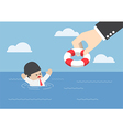 Drowning businessman getting lifebuoy from hand vector image vector image