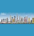 dubai uae skyline with gray buildings and blue sky vector image vector image