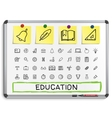 Education hand drawing line icons vector image vector image