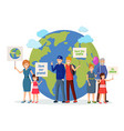 environmental activists with posters flat vector image vector image