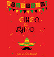 festive red cinco de mayo invitation poster vector image