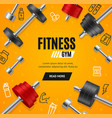 fitness gym concept banner card with realistic 3d vector image vector image