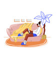 freelance woman work in comfortable cozy home vector image vector image