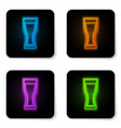 glowing neon glass beer icon isolated on white vector image vector image