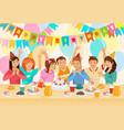 group children celebrating happy birthday vector image