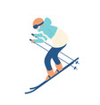 guy in snow suit skiing man on skis sportsman or vector image vector image