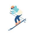 guy in snow suit skiing man on skis sportsman or vector image