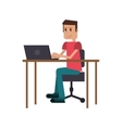 guy laptop desk workplace vector image