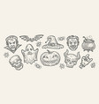 halloween concept hand-drawn symbols vintage vector image vector image