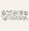 halloween concept hand-drawn symbols vintage vector image