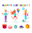 happy birthday party people celebrating holiday vector image vector image
