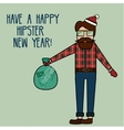 Happy New Year greeting card with modern young man vector image vector image