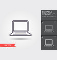 laptop line icon with editable stroke with shadow vector image