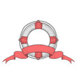 lifebuoy with ribbon baner hand drawn colored vector image