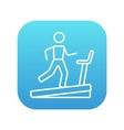 Man running on treadmill line icon vector image vector image