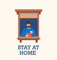 man stay home and read a book vector image vector image