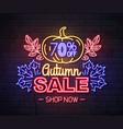 neon sign autumn big sale with pumpkin vector image