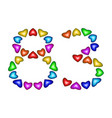 number 83 eighty three of colorful hearts on white vector image