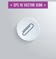 paperclip symbol icon on gray shaded background vector image