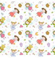pattern with cute cartoon fairies fairy elves vector image vector image