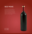photorealistic bottle of red wine on a red vector image