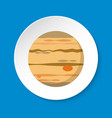 planet jupiter icon in flat style on round button vector image vector image