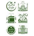 ramadan kareem eid mubarak greeting card design vector image