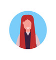 redhed woman face avatar happy girl faceless male vector image