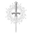 ritual dagger with rays of light isolated on white vector image vector image
