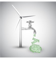 save energy wind turbine and money vector image vector image