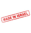 scratched made in israel rounded rectangle stamp vector image