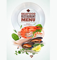 seafood menu realistic poster vector image vector image
