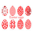set of easter eggs with a pattern vector image vector image