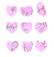 set of pink hearts vector image vector image