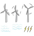 set of wind turbine vector image vector image