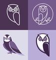 set owl logos and emblems vector image vector image