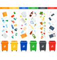 set sorting bins for garbage different vector image vector image