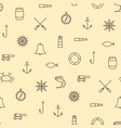 ship sea line icons seamless pattern on beige vector image
