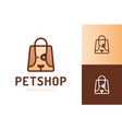 shopping bag with dog petshop logo symbol pet vector image