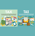 tax banner set flat style vector image vector image