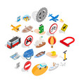 traveling on transport icons set isometric style vector image vector image